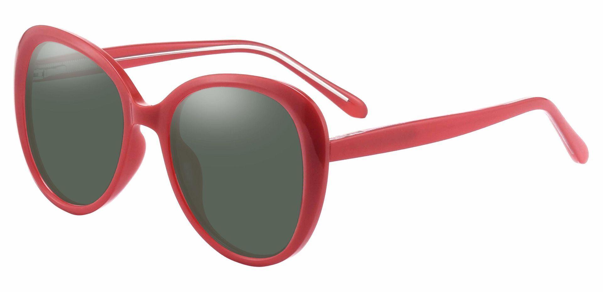 Sheridan Oval Prescription Sunglasses - Red Frame With Green Lenses