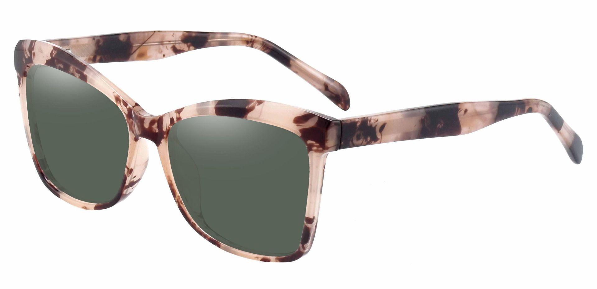Lexi Cat Eye Prescription Sunglasses - Tortoise Frame With Green Lenses