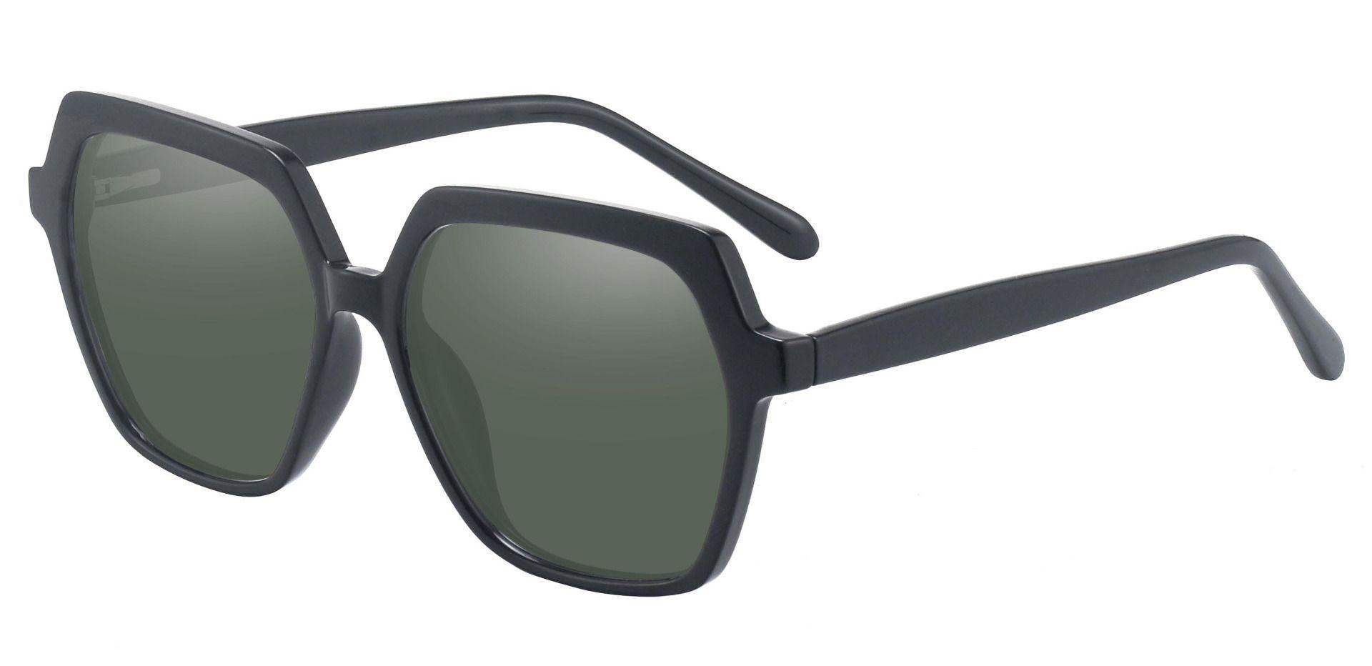 Regent Geometric Lined Bifocal Sunglasses - Black Frame With Green Lenses
