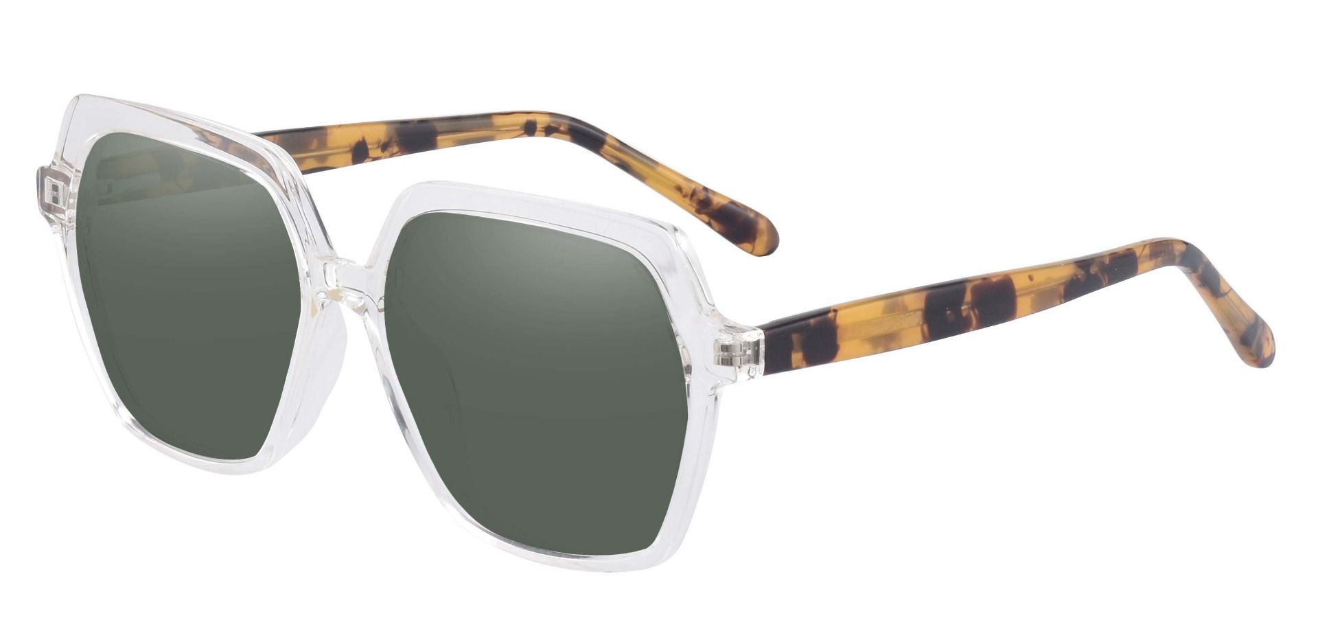 Regent Geometric Prescription Sunglasses - Clear Frame With Green Lenses
