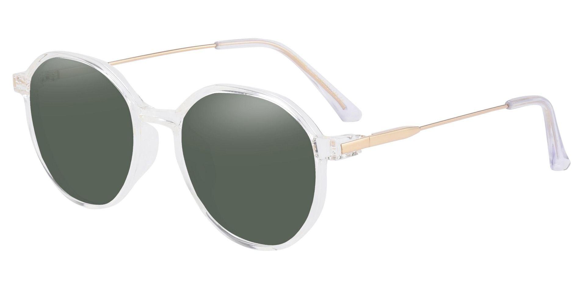 Daytona Geometric Prescription Sunglasses - Clear Frame With Green Lenses
