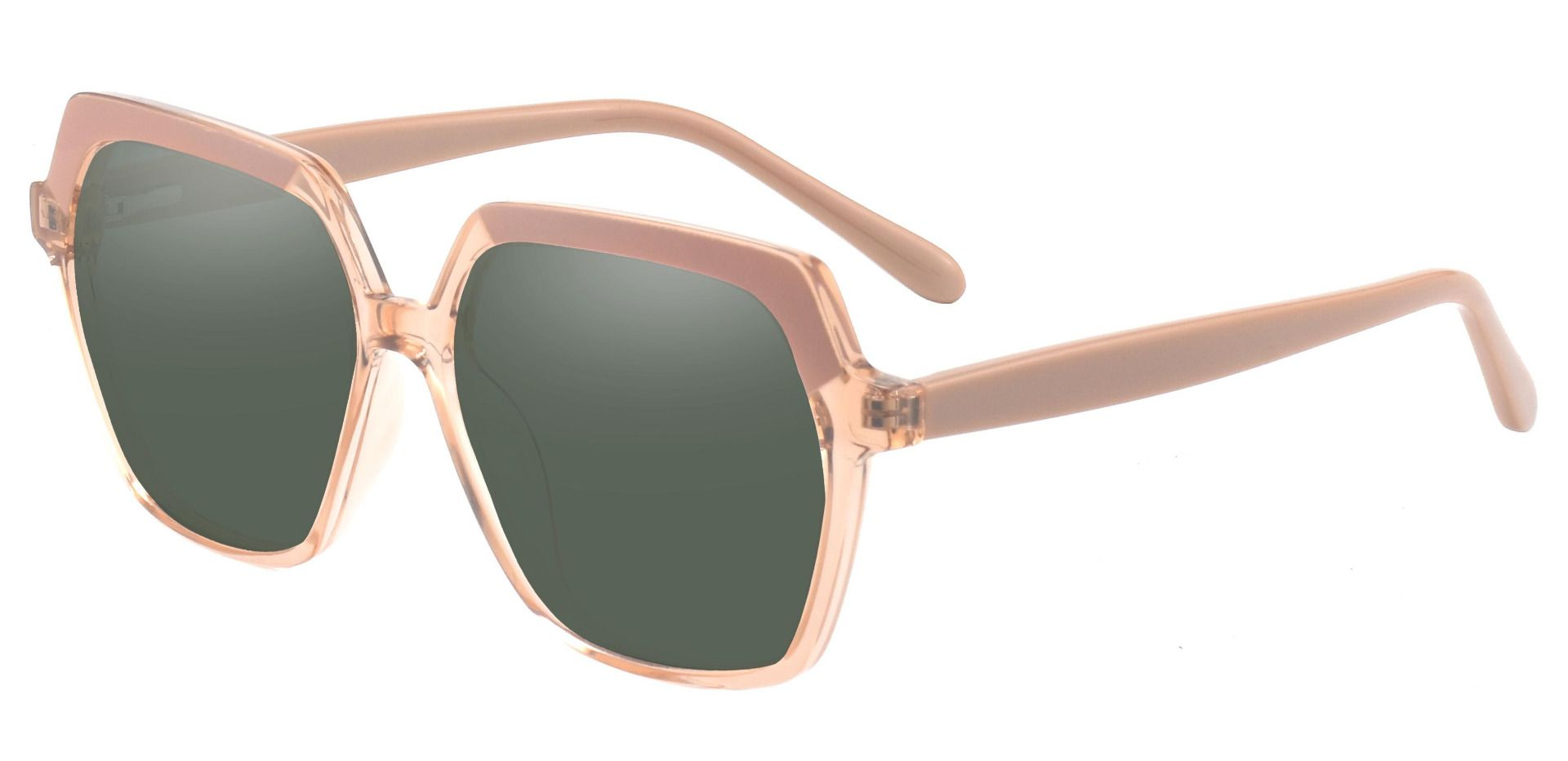 Regent Geometric Non-Rx Sunglasses - Brown Frame With Green Lenses