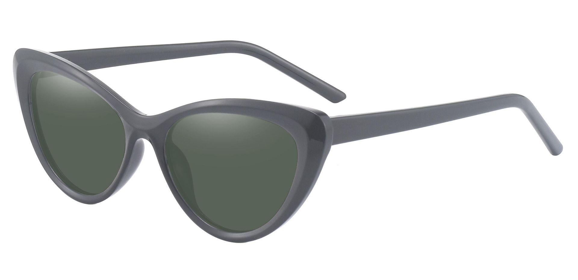 Gemini Cat Eye Progressive Sunglasses - Black Frame With Green Lenses