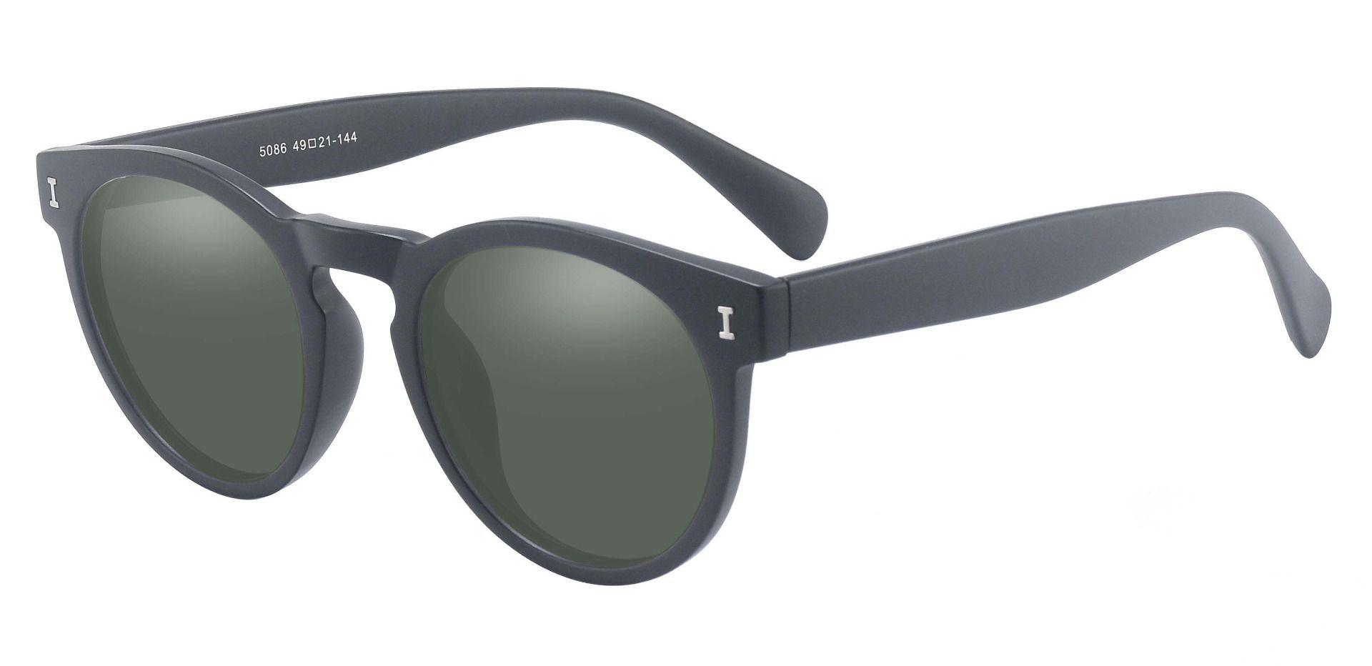 Ozark Round Prescription Sunglasses - Black Frame With Green Lenses