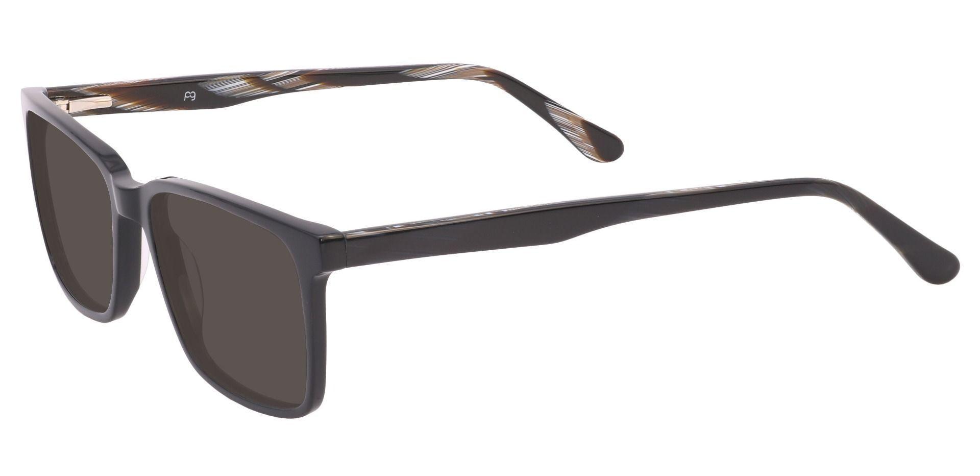 Venice Rectangle Prescription Sunglasses - Black Frame With Gray Lenses
