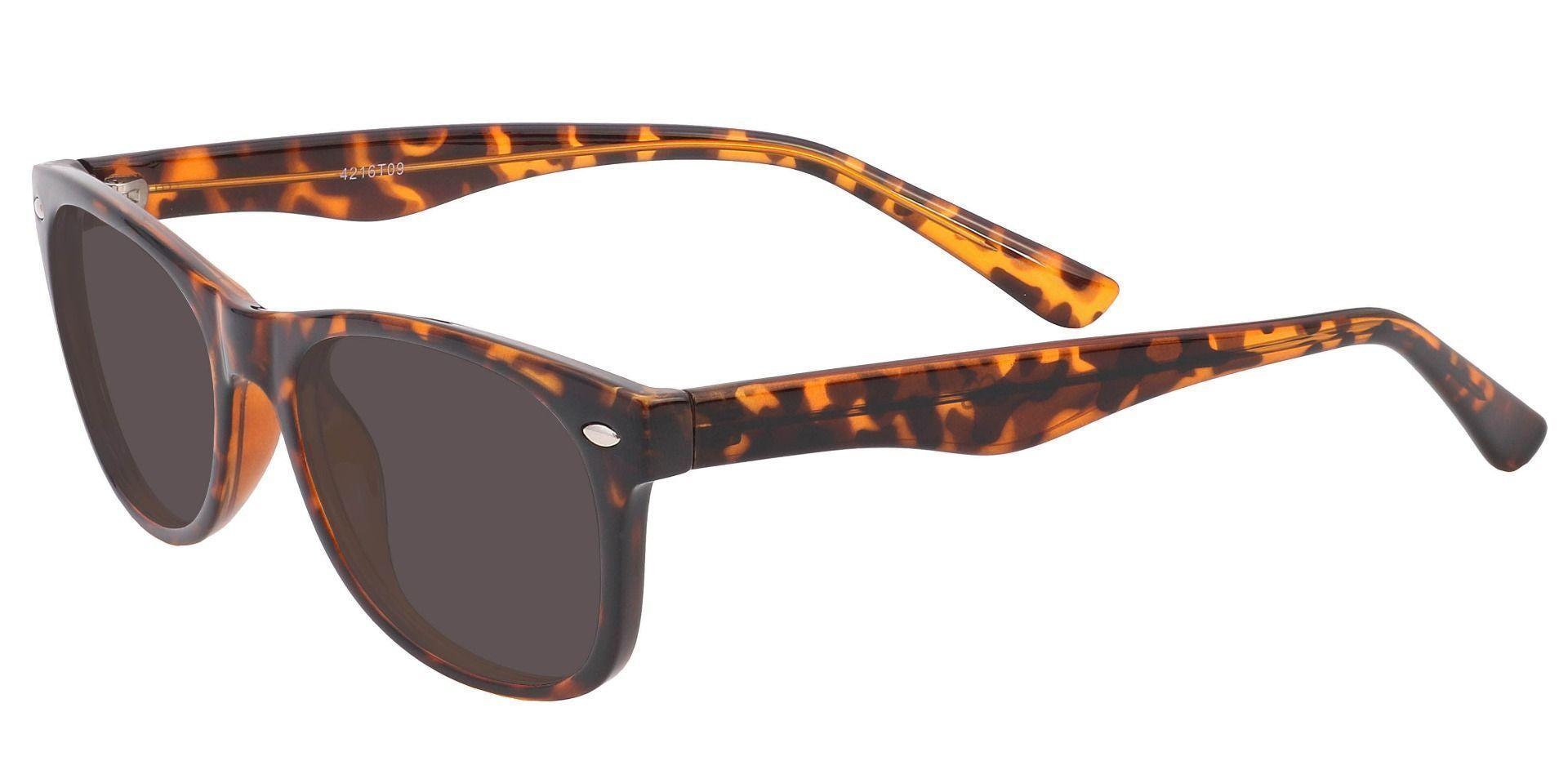 Leland Rectangle Prescription Sunglasses - Tortoise Frame With Gray Lenses
