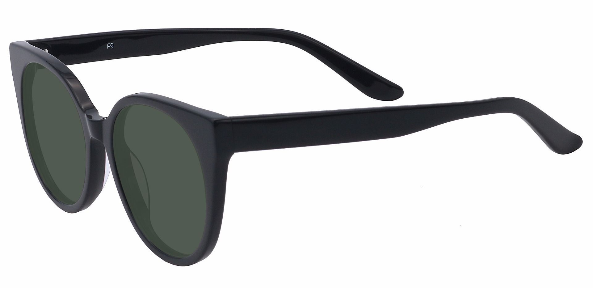 Balmoral Cat-Eye Single Vision Sunglasses - Black Frame With Green Lenses