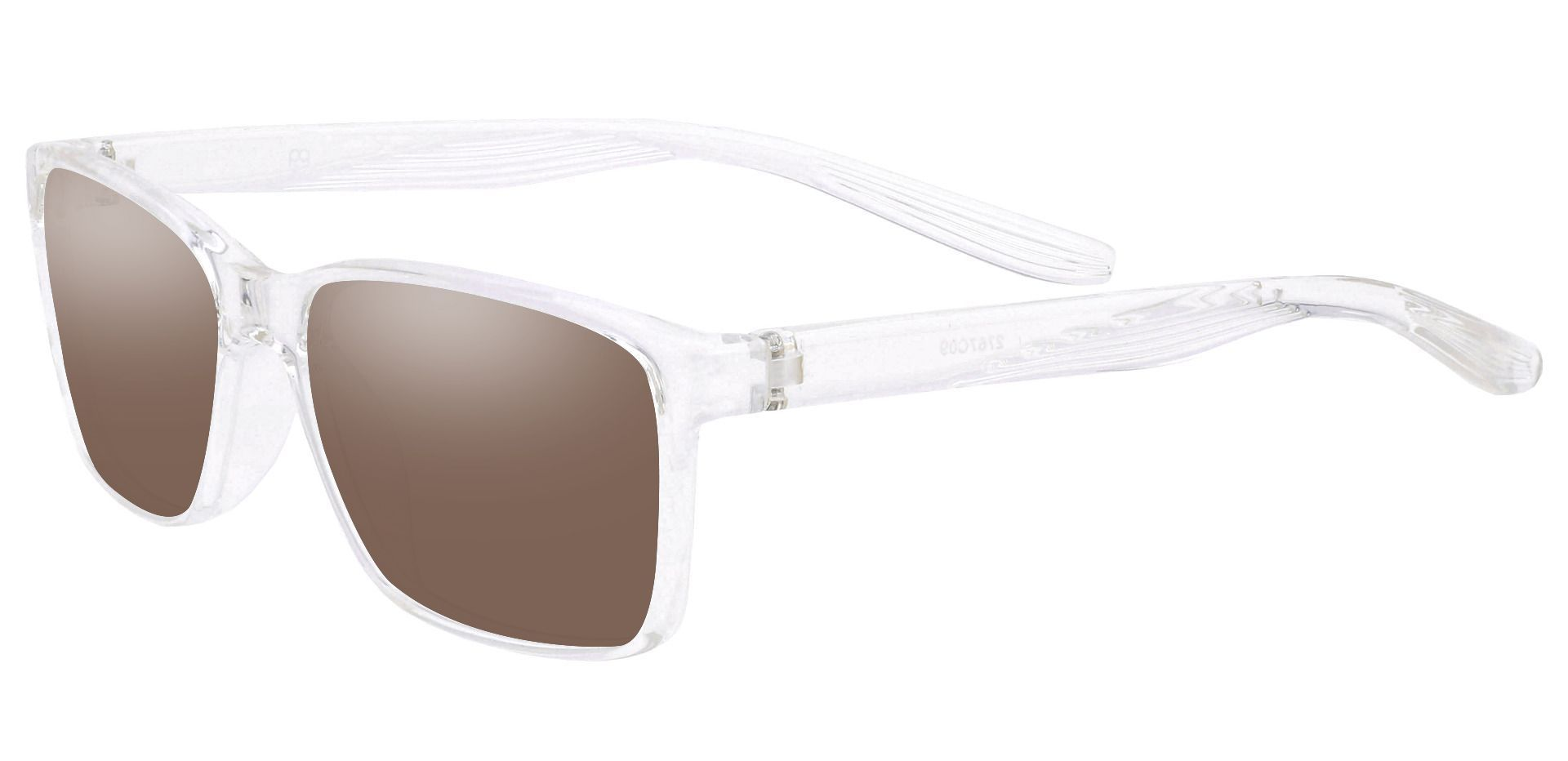 Berlin Rectangle Prescription Sunglasses -  Clear Frame With Brown Lenses