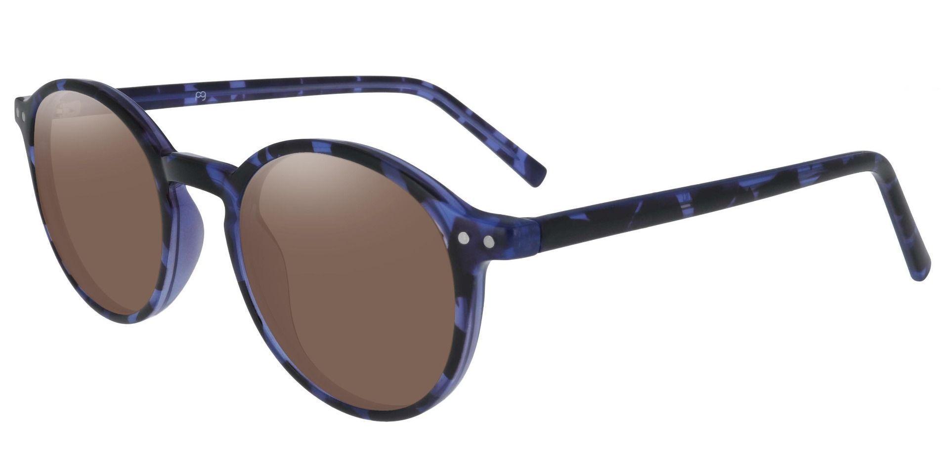 Harvard Round Prescription Sunglasses - Blue Frame With Brown Lenses