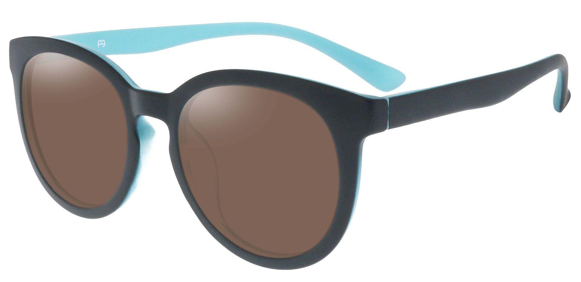 Dudley Oval Prescription Sunglasses - Black Frame With Brown Lenses