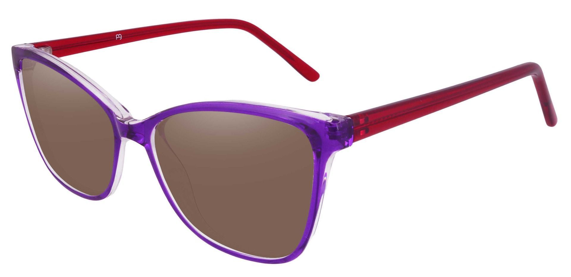 Brynn Cat Eye Prescription Sunglasses - Purple Frame With Brown Lenses