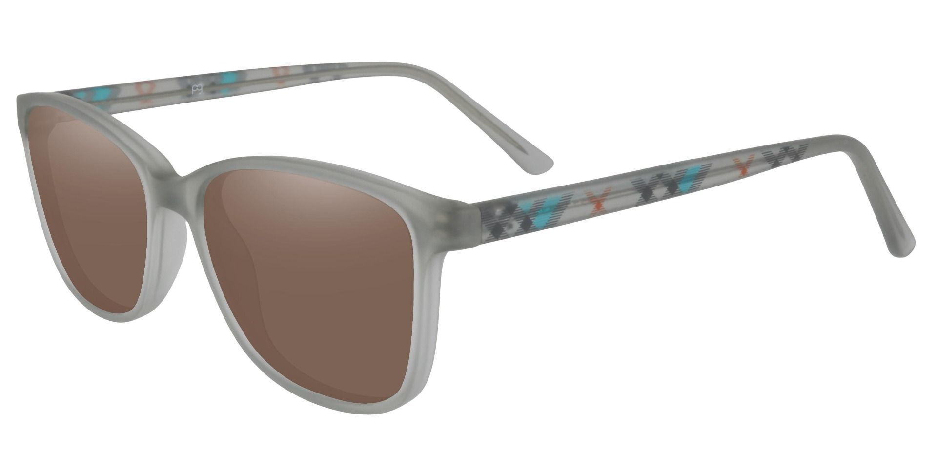 Argyle Rectangle Prescription Sunglasses - Gray Frame With Brown Lenses