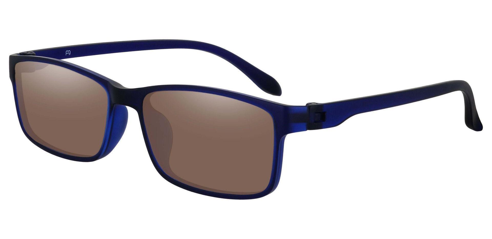 Candice Rectangle Prescription Sunglasses - Blue Frame With Brown Lenses