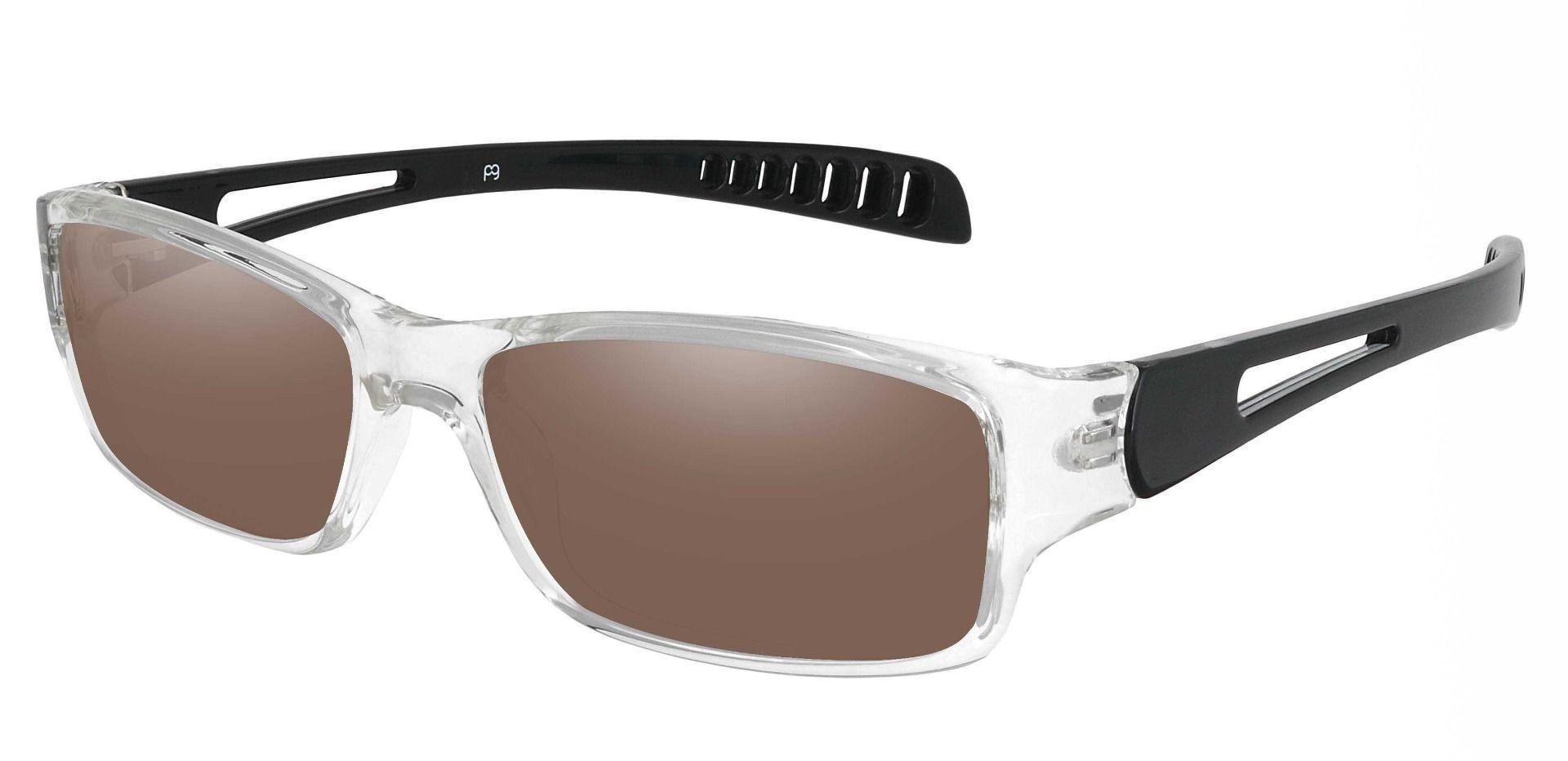 Mercury Rectangle Prescription Sunglasses - Clear Frame With Brown Lenses