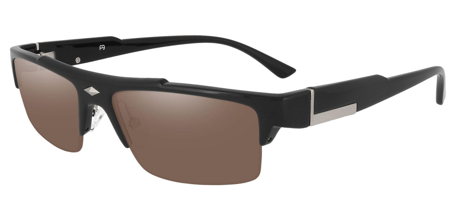 Sven Rectangle Prescription Sunglasses - Black Frame With Brown Lenses