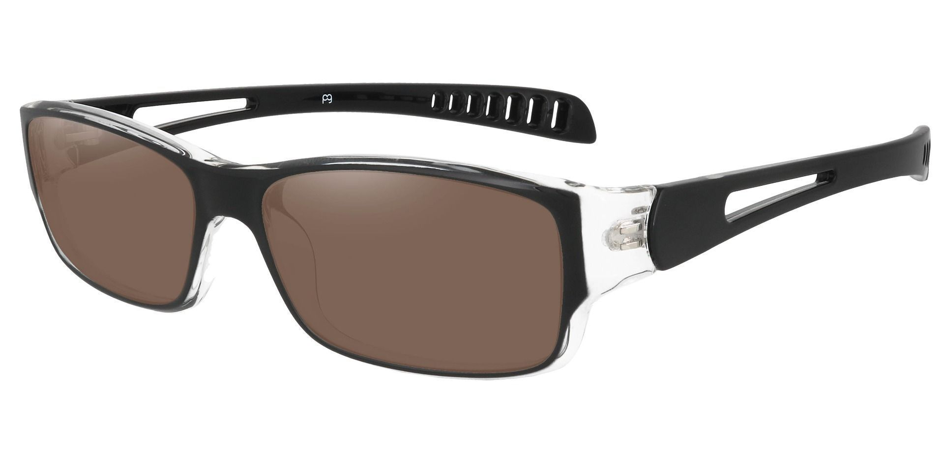 Mercury Rectangle Prescription Sunglasses - Black Frame With Brown Lenses
