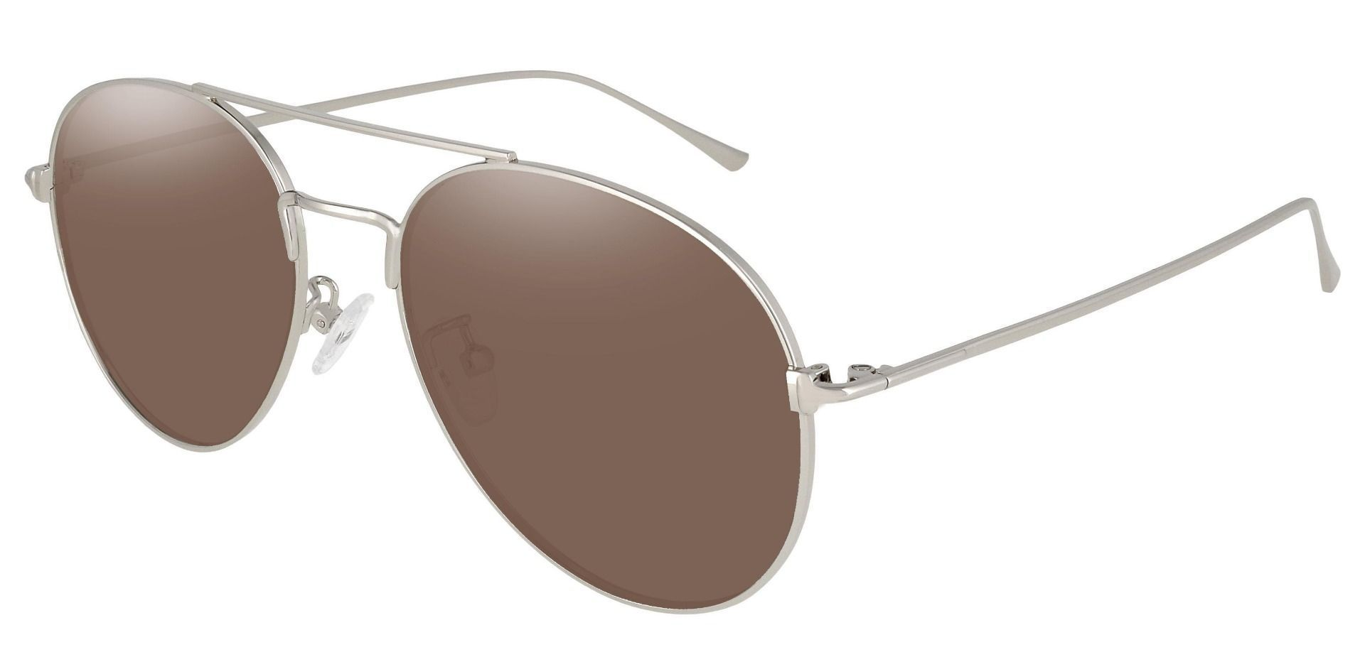 Canon Aviator Reading Sunglasses - Silver Frame With Brown Lenses