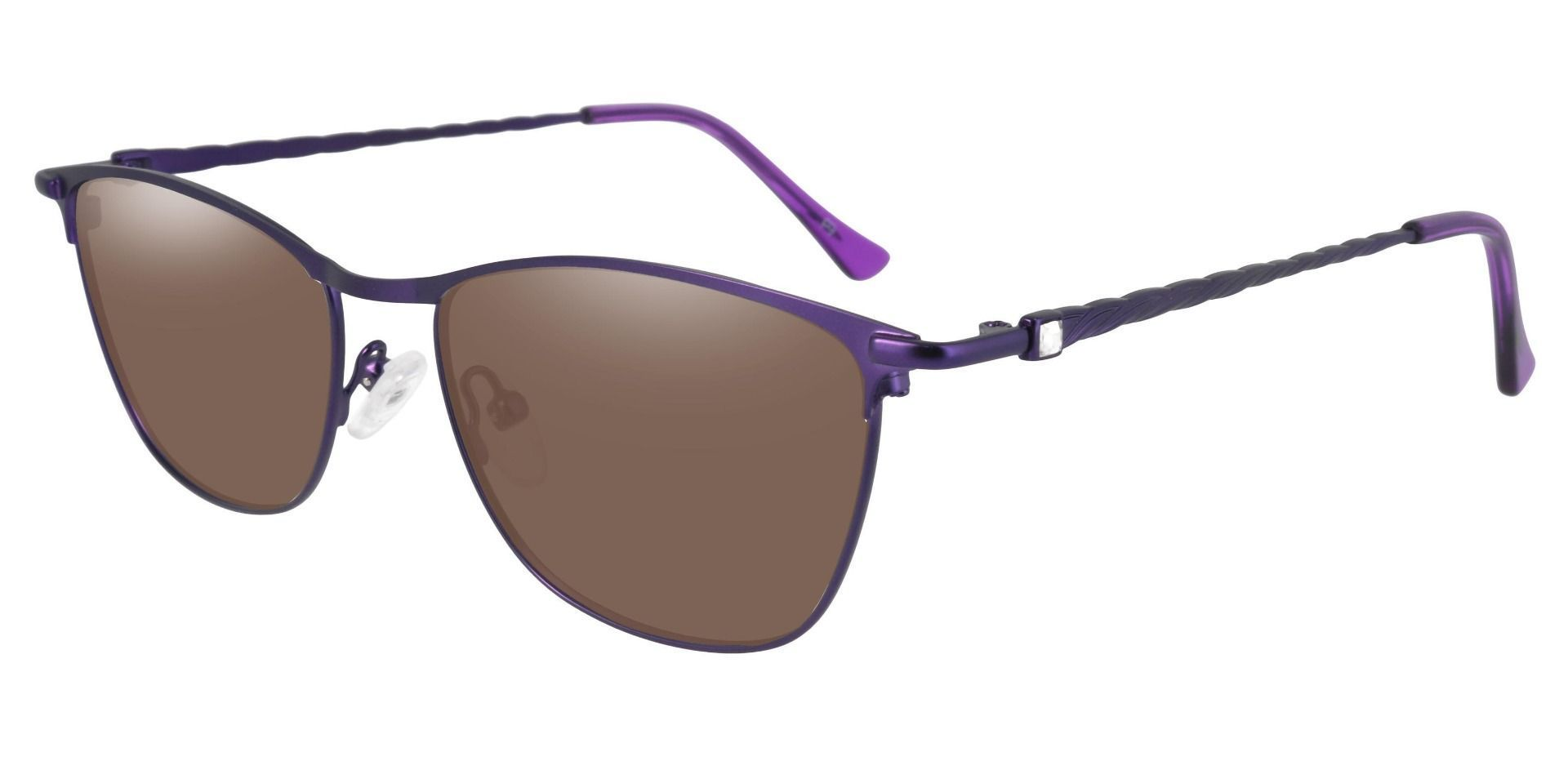 Andrea Cat Eye Non-Rx Sunglasses - Purple Frame With Brown Lenses