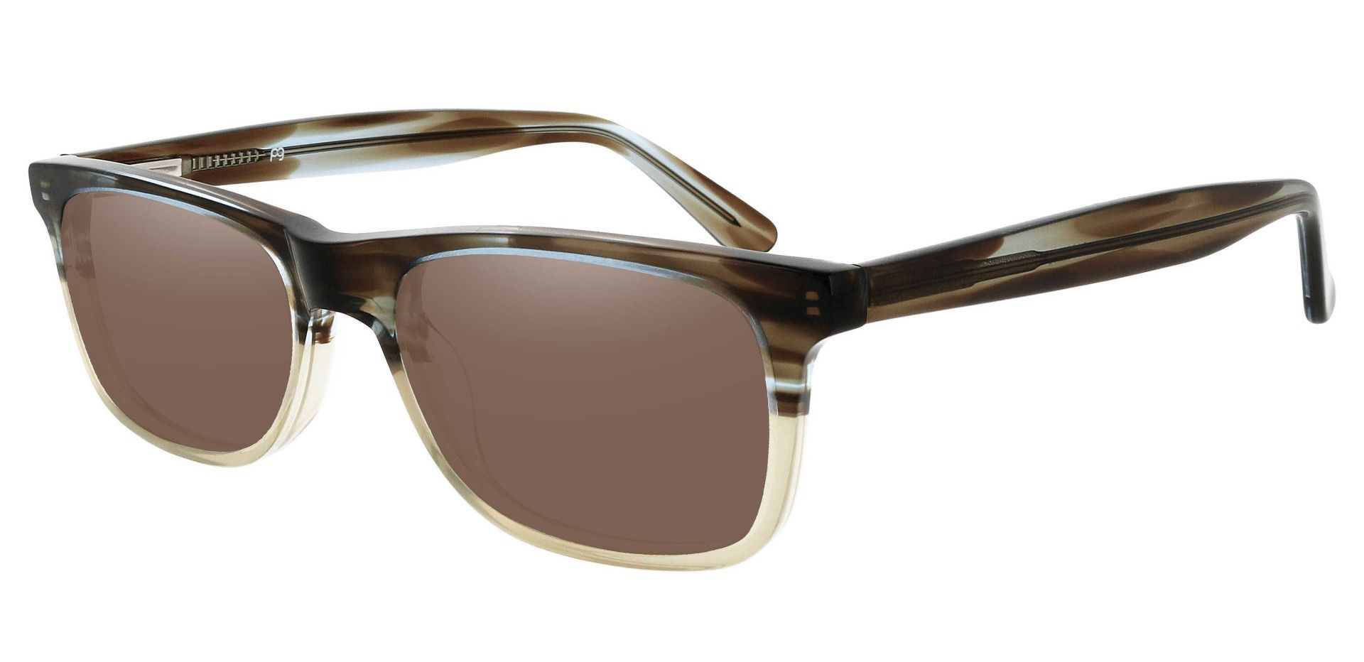 Denali Rectangle Progressive Sunglasses - Multi Color Frame With Brown Lenses