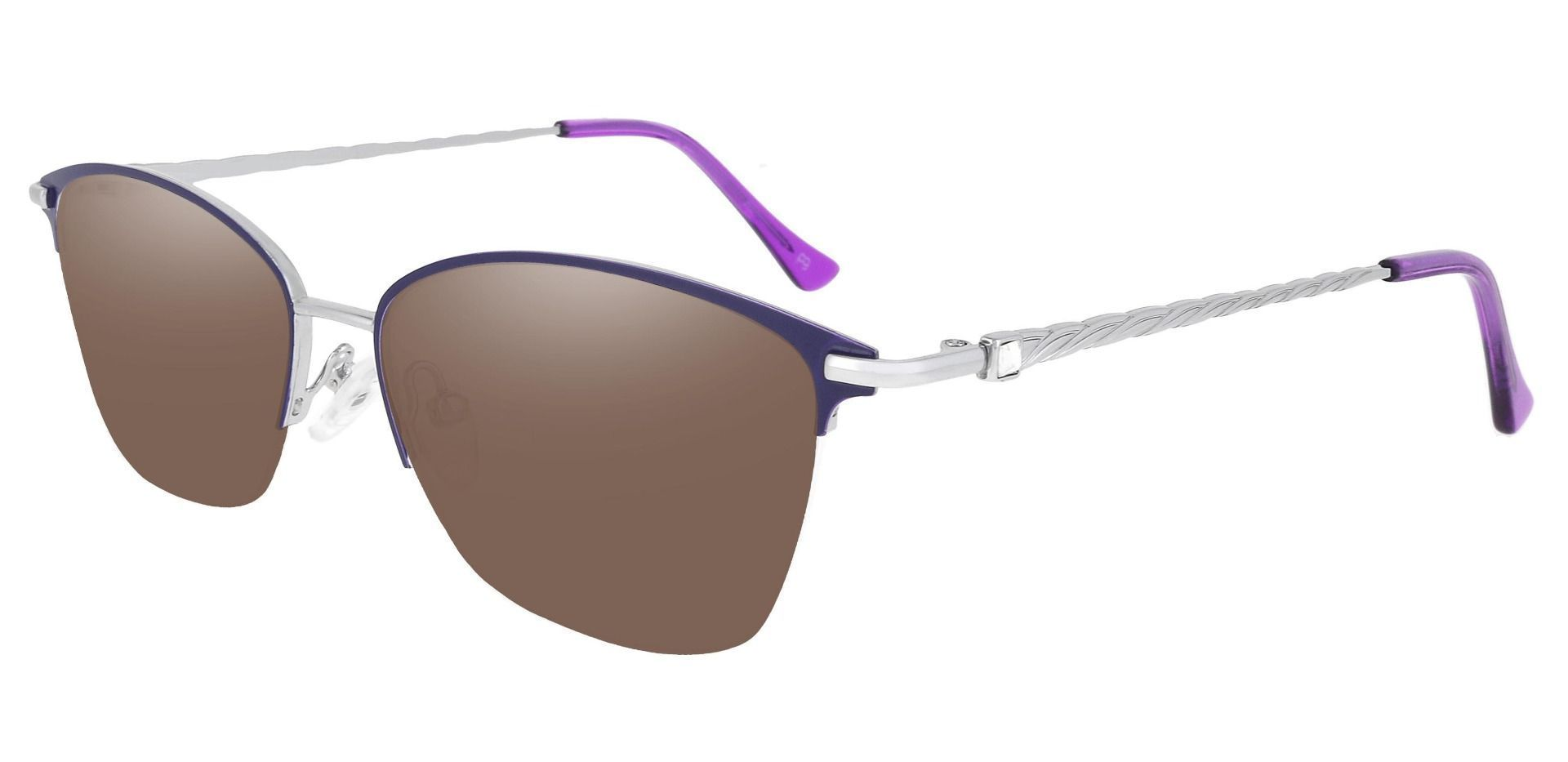Marigold Rectangle Reading Sunglasses - Purple Frame With Brown Lenses