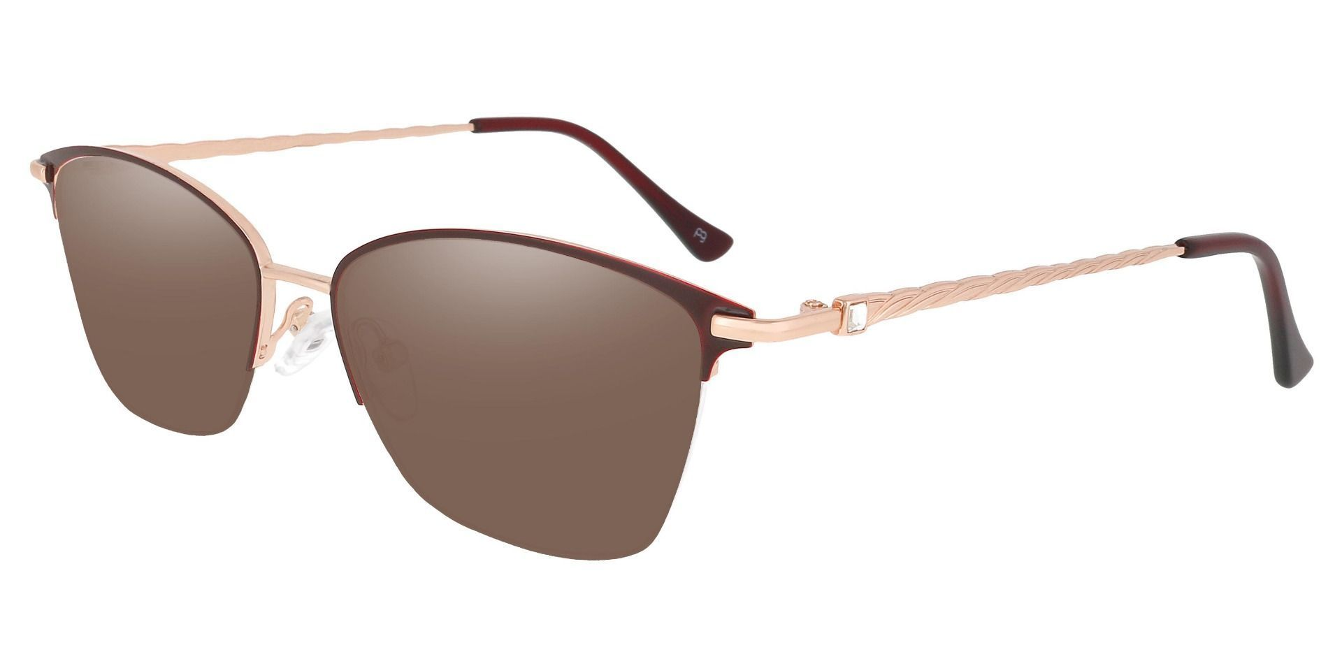 Marigold Rectangle Prescription Sunglasses - Red Frame With Brown Lenses