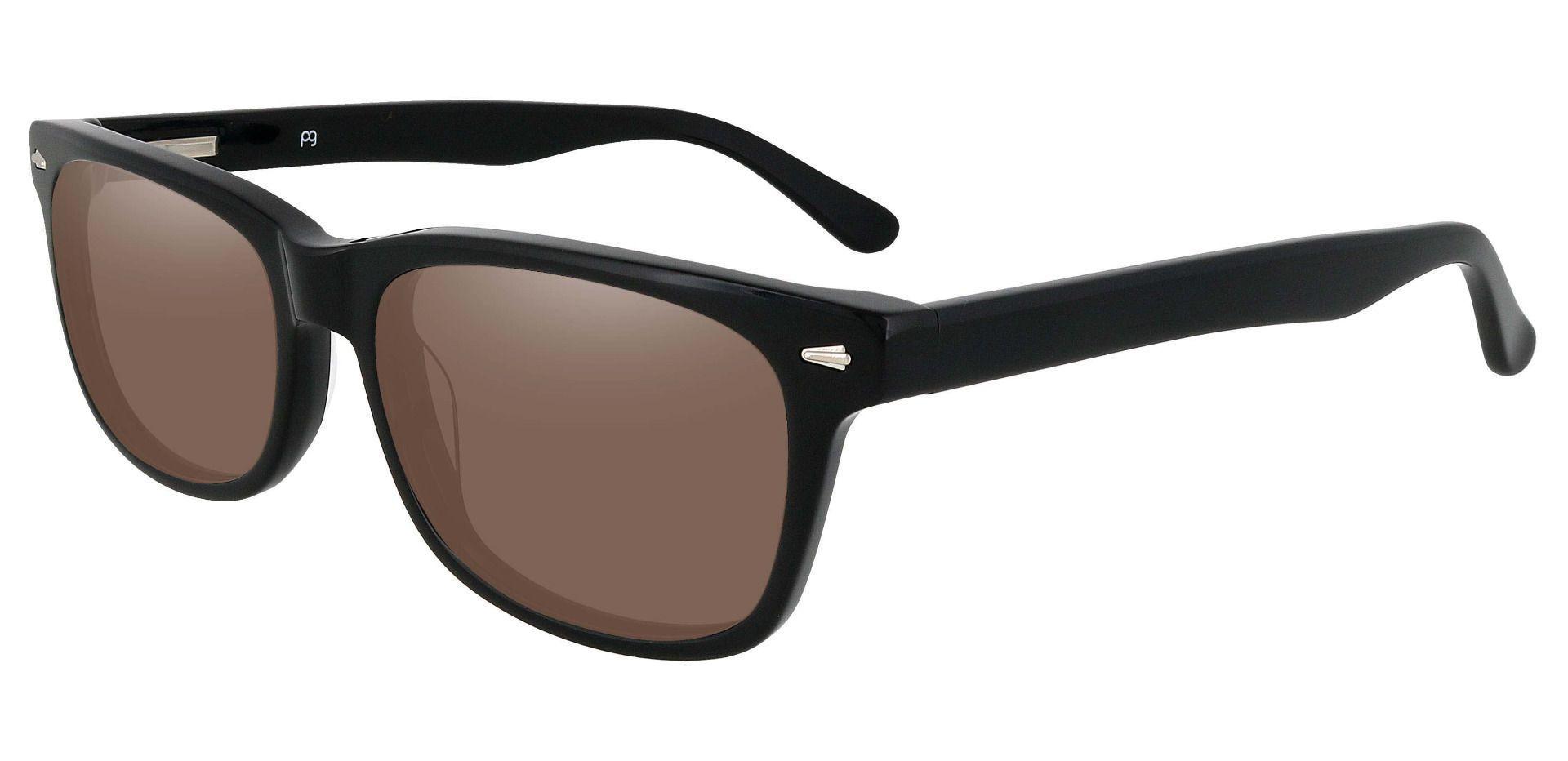 Hendrix Rectangle Lined Bifocal Sunglasses - Black Frame With Brown Lenses