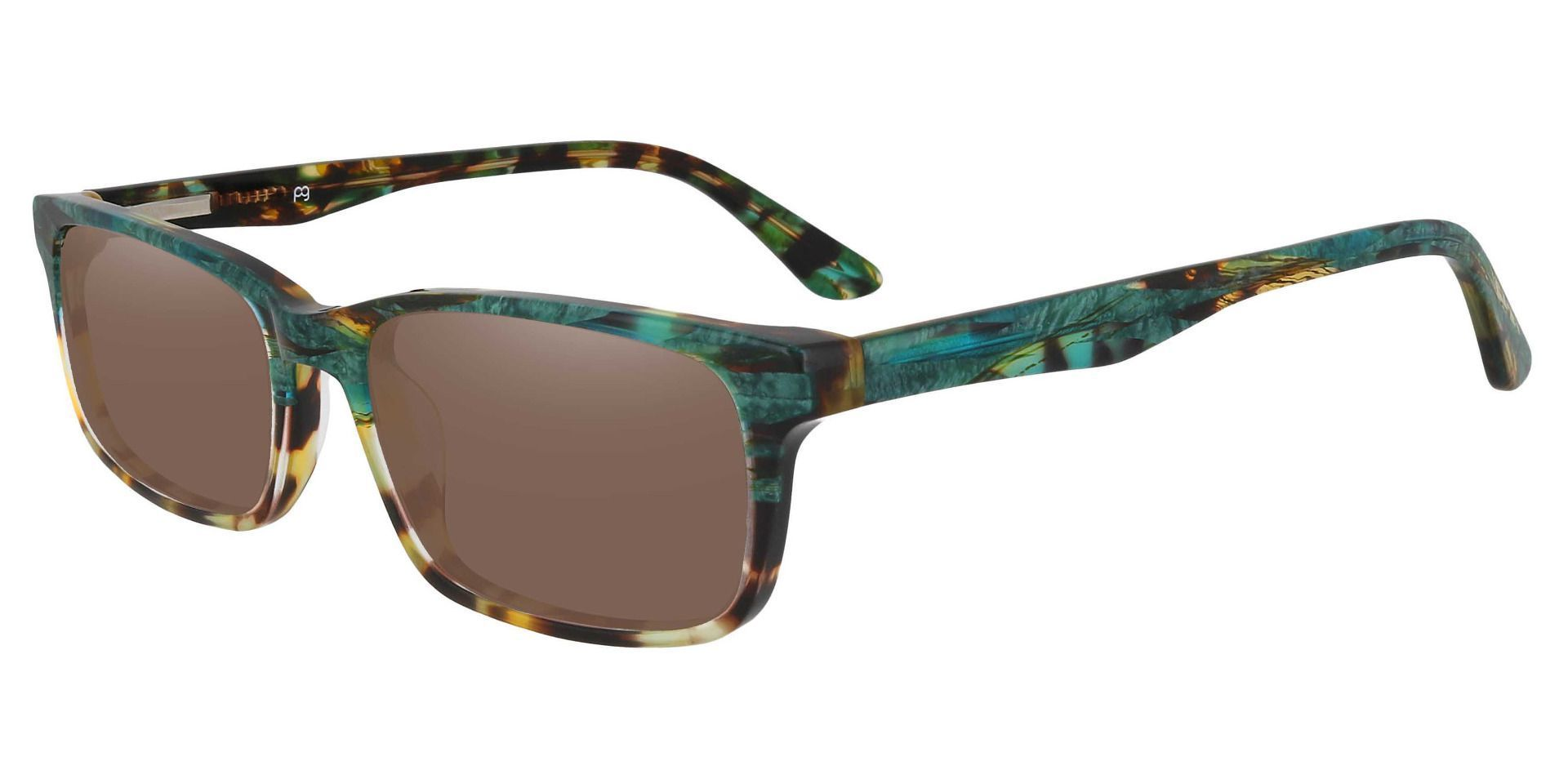 Hendrix Rectangle Lined Bifocal Sunglasses - Floral Frame With Brown Lenses