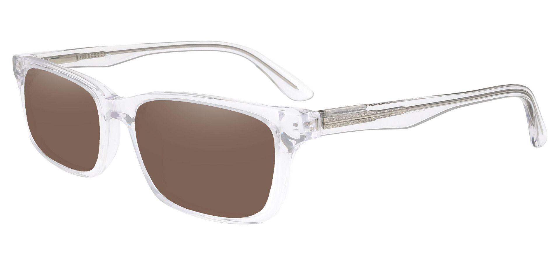 Hendrix Rectangle Reading Sunglasses - Clear Frame With Brown Lenses