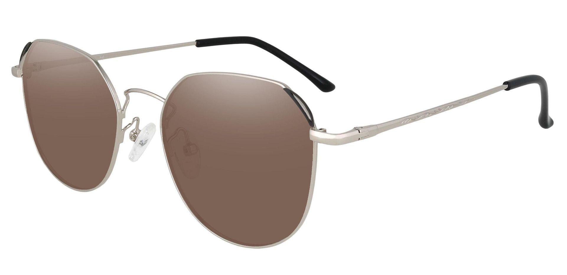 Figaro Geometric Progressive Sunglasses - Silver Frame With Brown Lenses