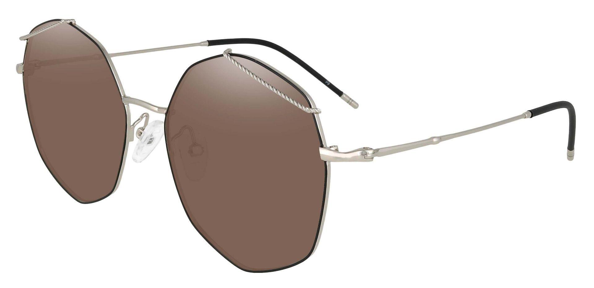 Tango Geometric Prescription Sunglasses - Black Frame With Brown Lenses