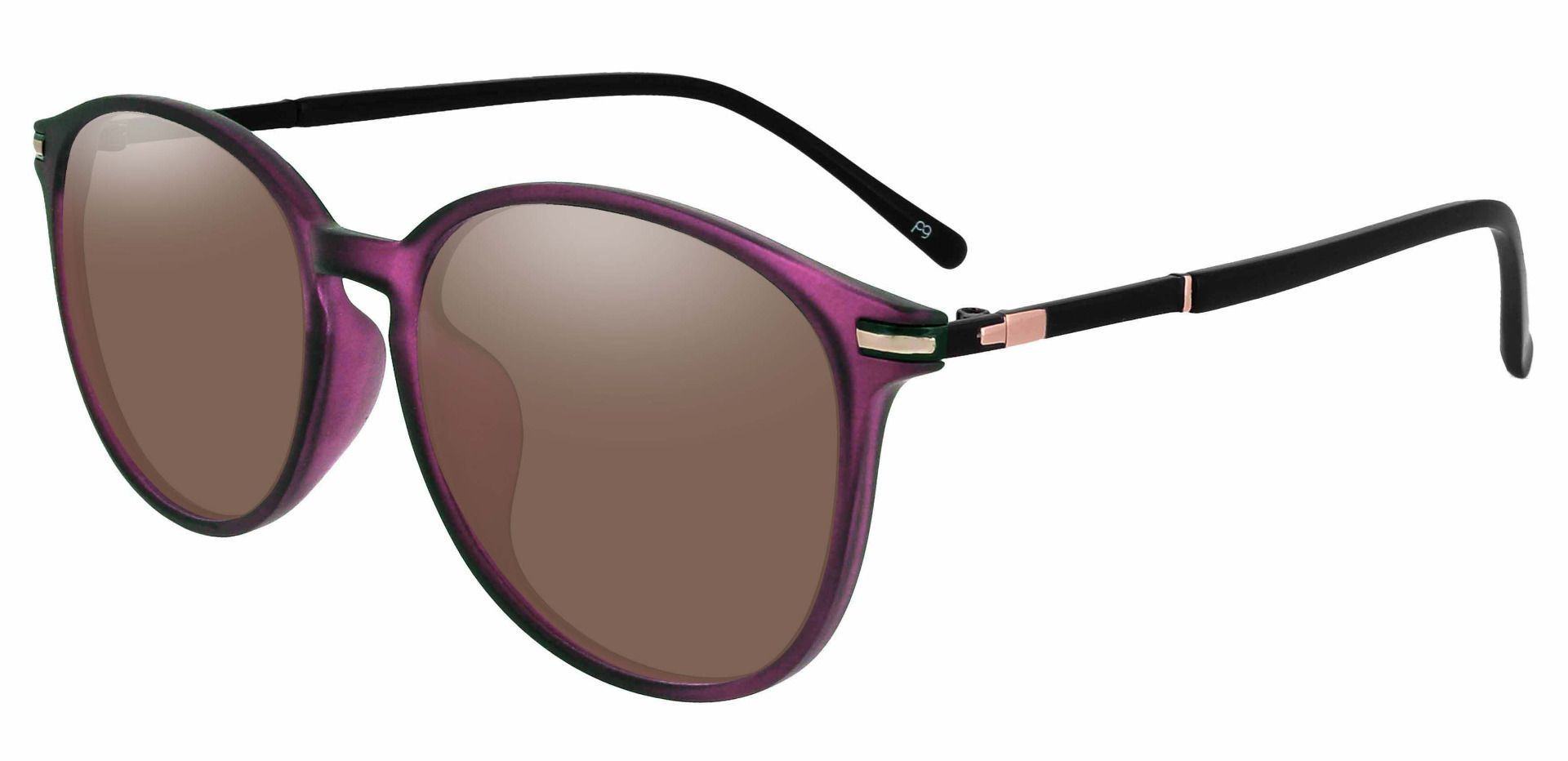 Danbury Oval Progressive Sunglasses - Purple Frame With Brown Lenses