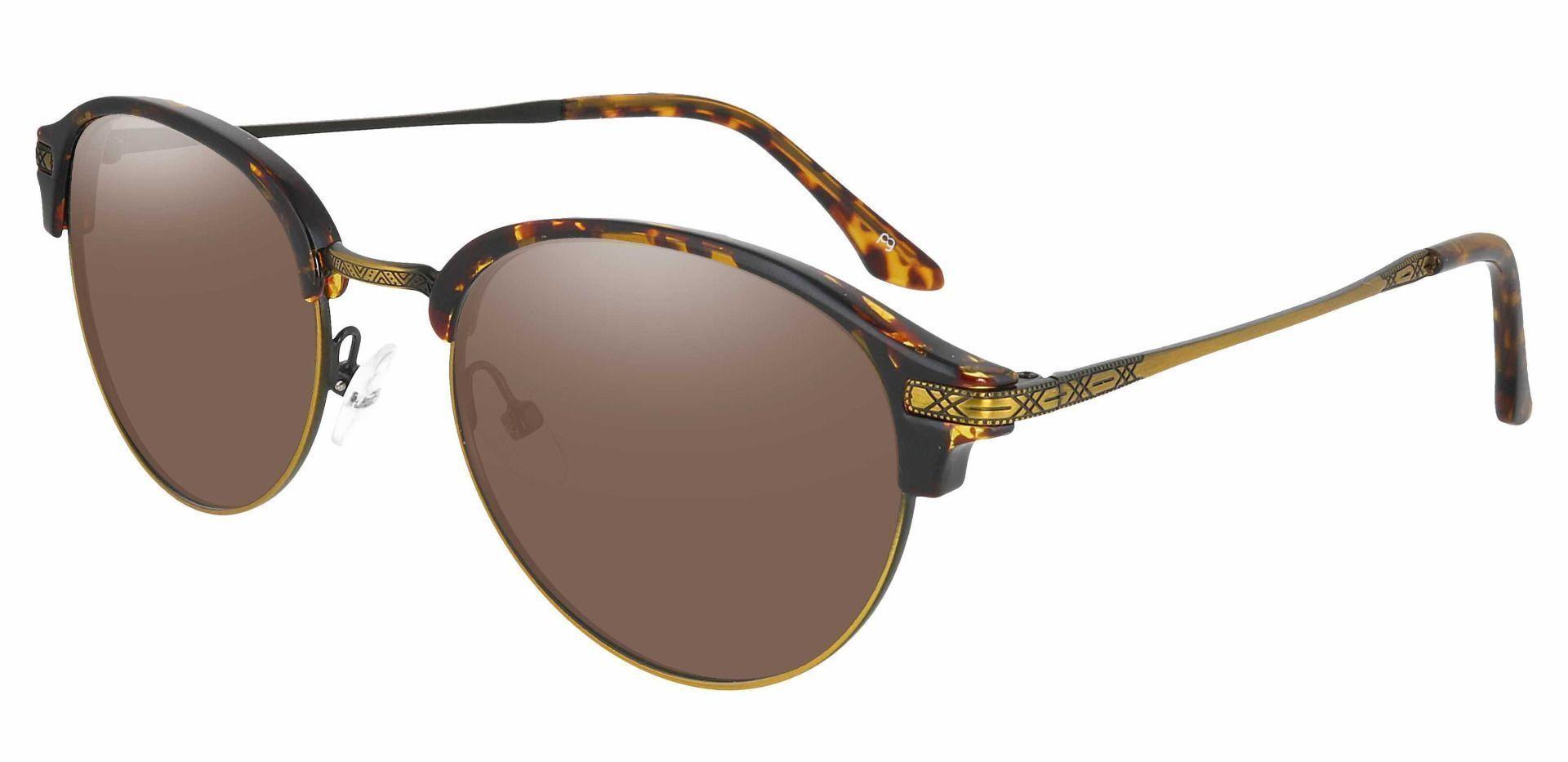 Akron Browline Progressive Sunglasses - Tortoise Frame With Brown Lenses