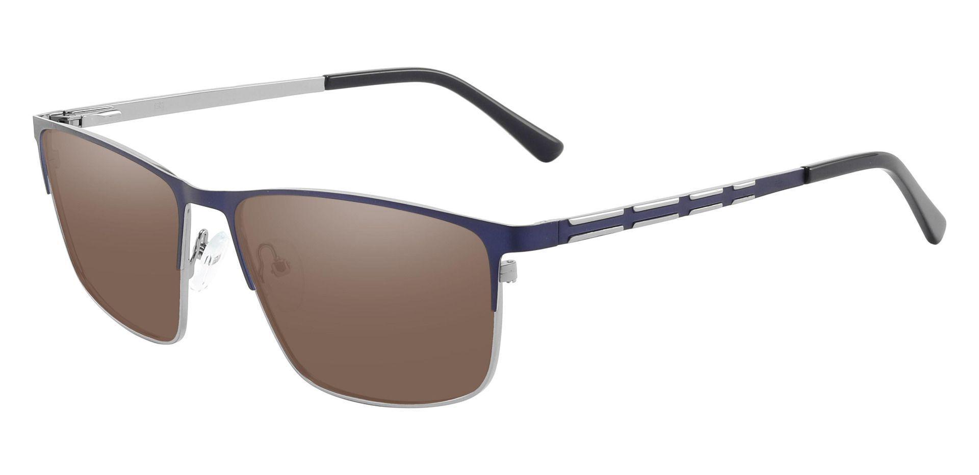 Hamlet Browline Prescription Sunglasses - Blue Frame With Brown Lenses