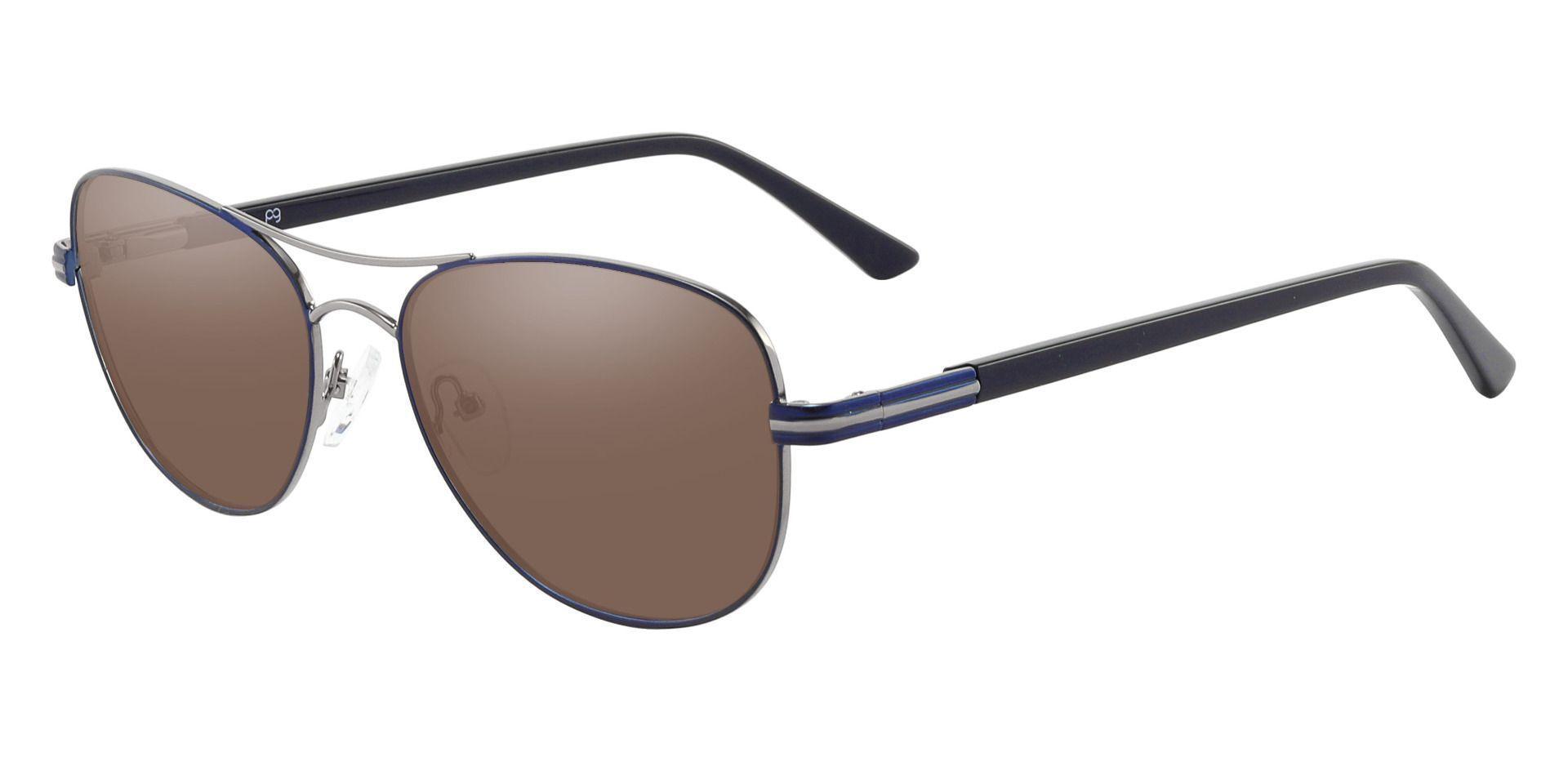 Reeves Aviator Prescription Sunglasses - Blue Frame With Brown Lenses