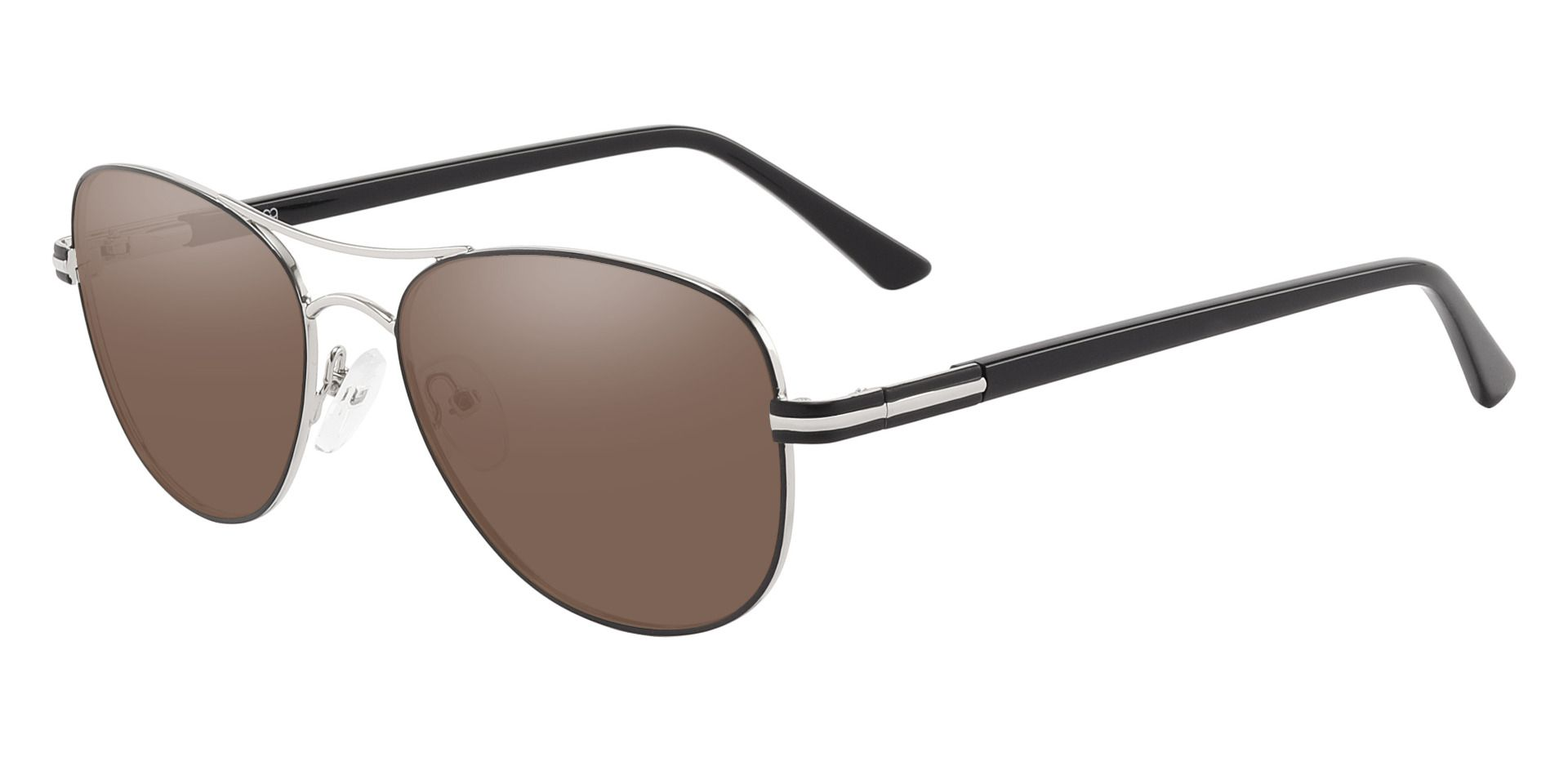 Reeves Aviator Prescription Sunglasses - Silver Frame With Brown Lenses