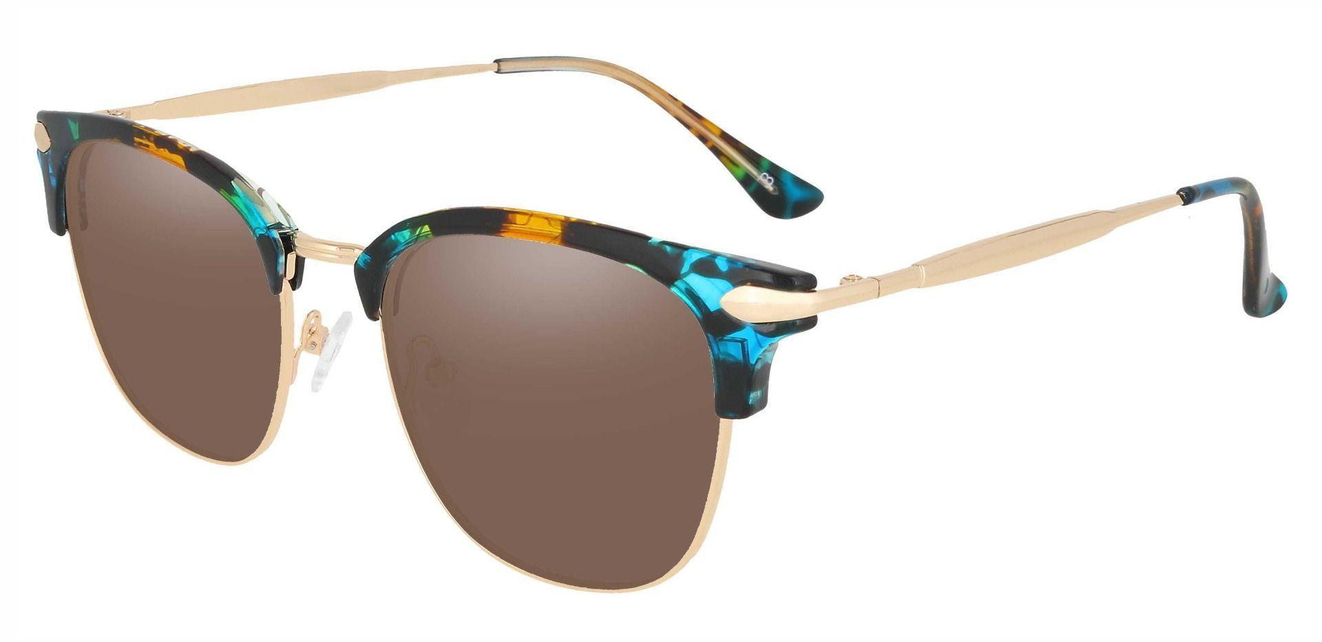 Webster Browline Prescription Sunglasses - Green Frame With Brown Lenses