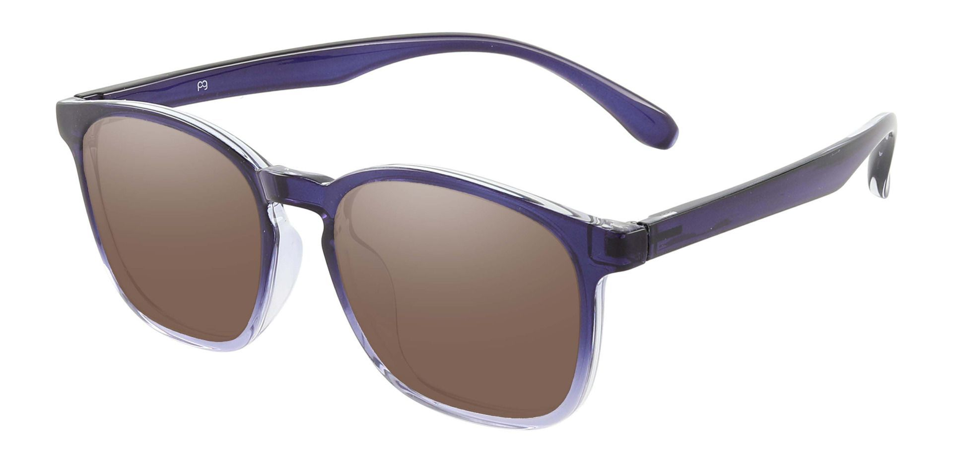 Gateway Square Prescription Sunglasses - Blue Frame With Brown Lenses