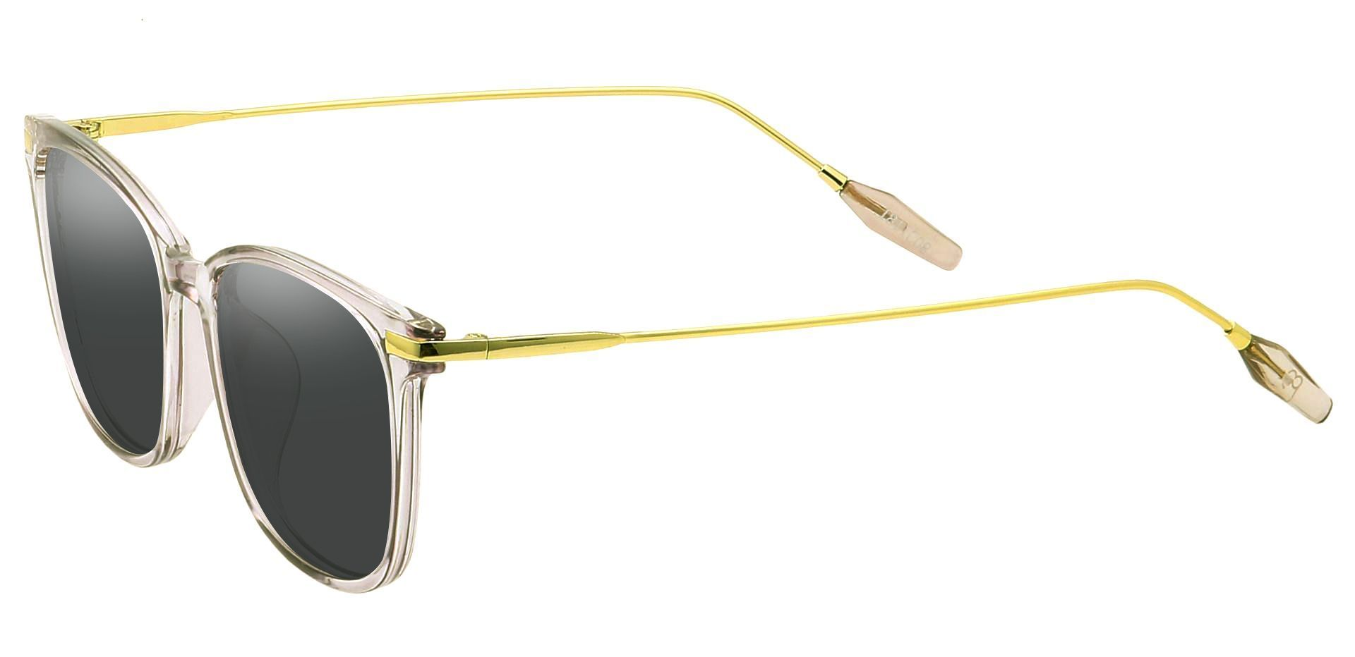 Katie Oval Prescription Sunglasses - Clear Frame With Gray Lenses