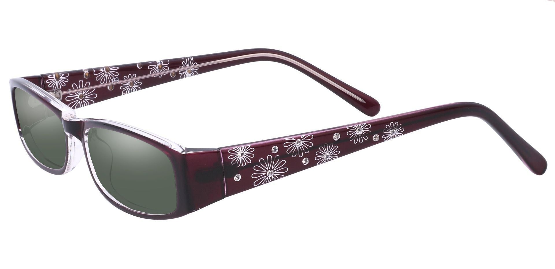 Camille Rectangle Single Vision Sunglasses -  Purple Frame With Green Lenses