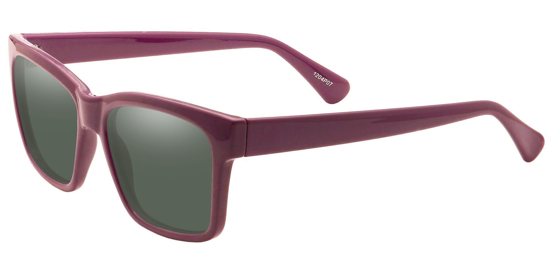 Brinley Square Reading Sunglasses - Purple Frame With Green Lenses