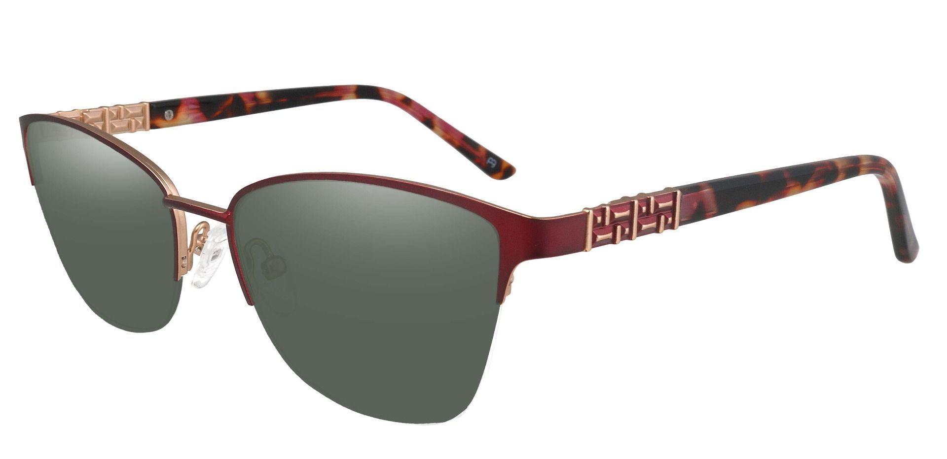Ballad Cat Eye Prescription Sunglasses - Red Frame With Green Lenses