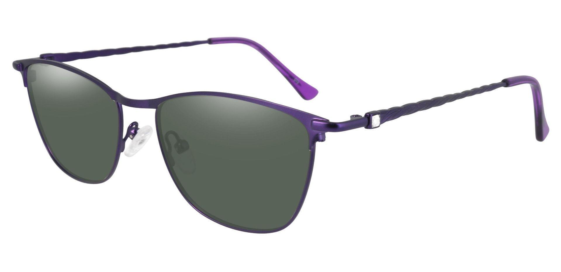 Andrea Cat Eye Reading Sunglasses - Purple Frame With Green Lenses
