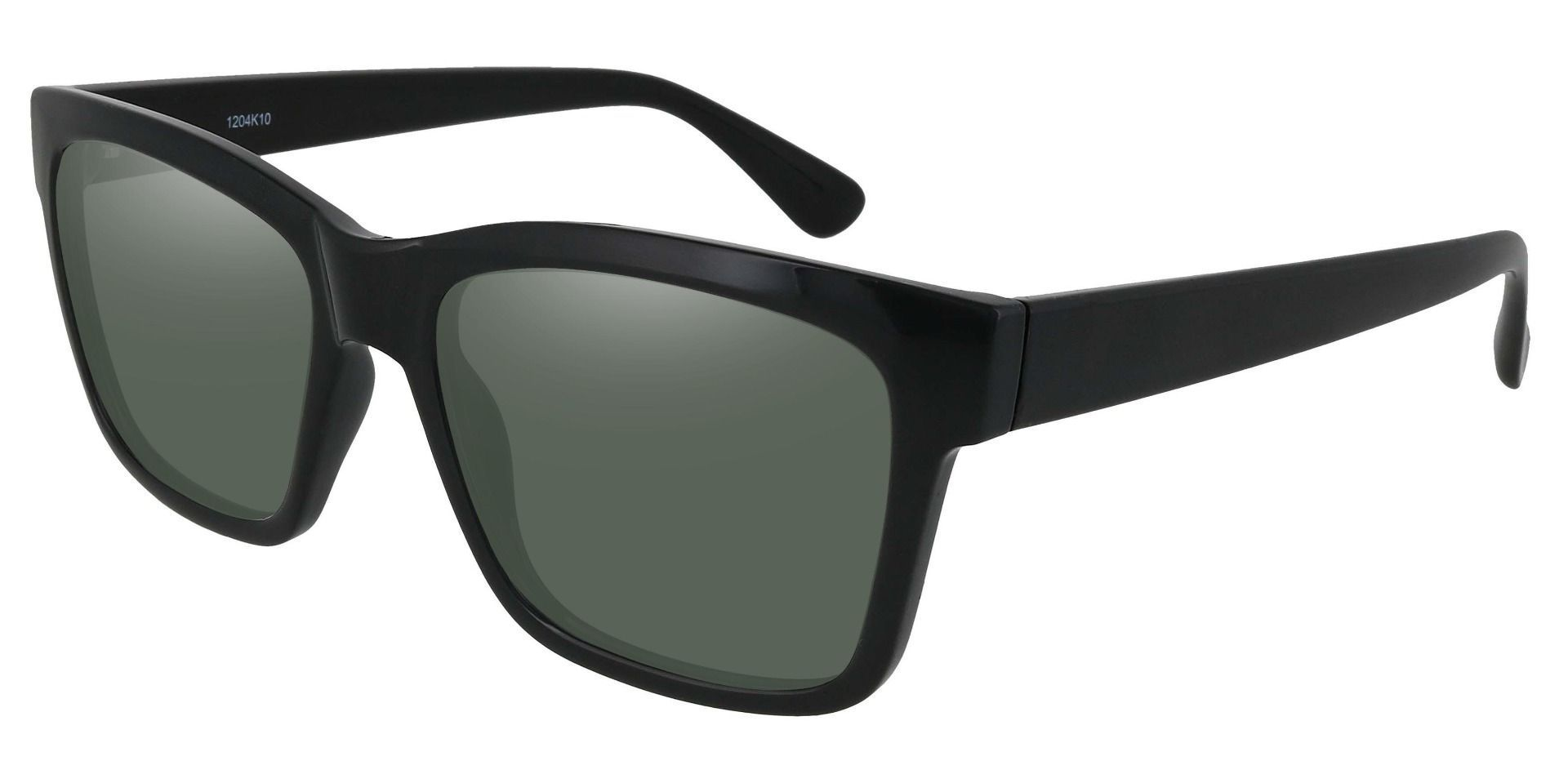 Brinley Square Prescription Sunglasses - Black Frame With Green Lenses