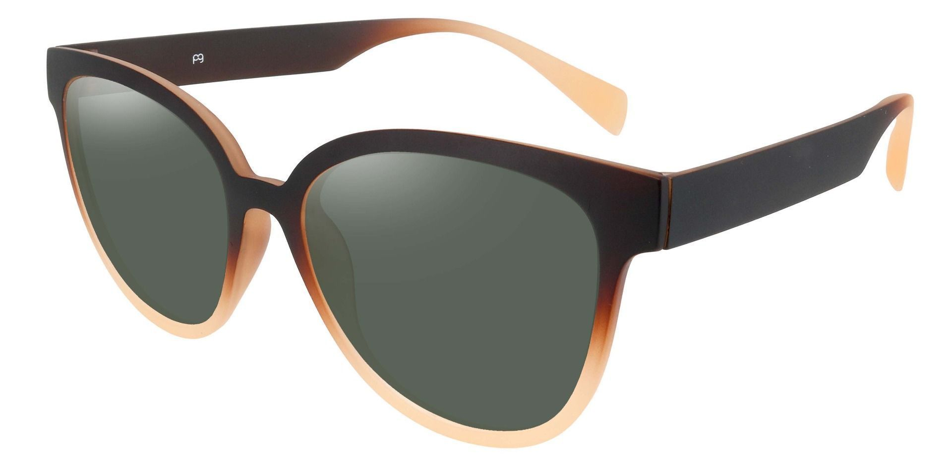 Newport Oval Non-Rx Sunglasses - Brown Frame With Green Lenses
