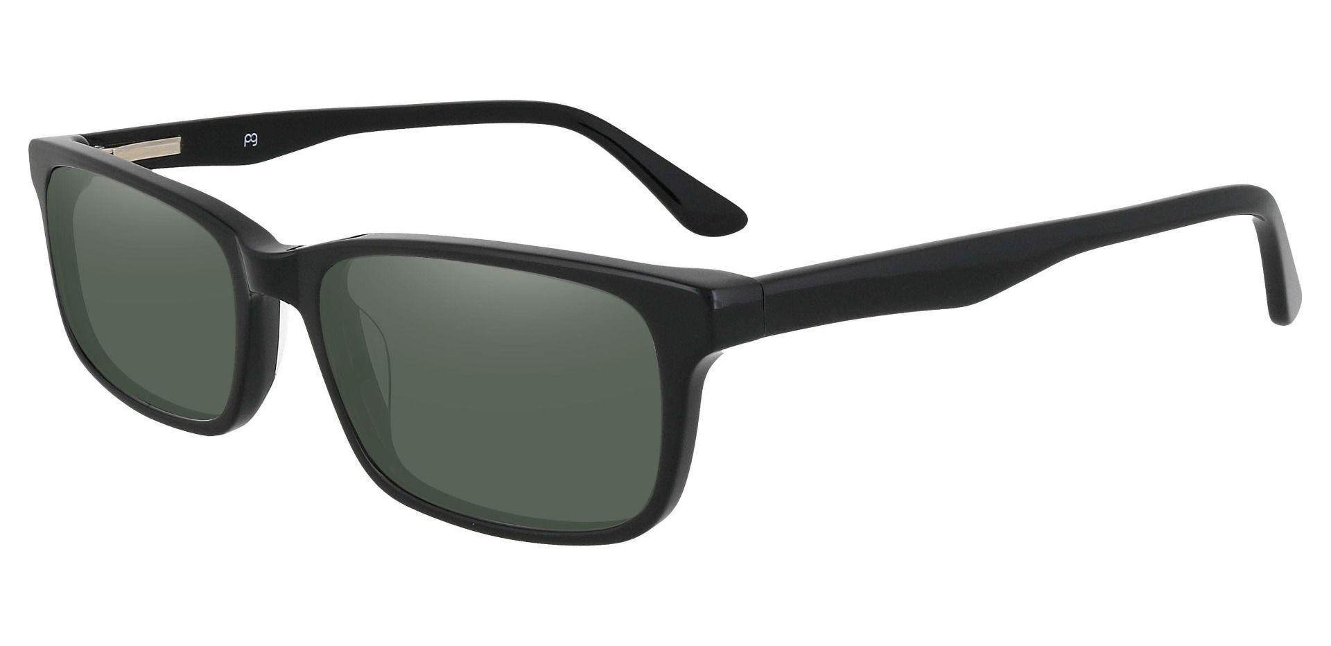 Ennis Rectangle Prescription Sunglasses - Black Frame With Green Lenses