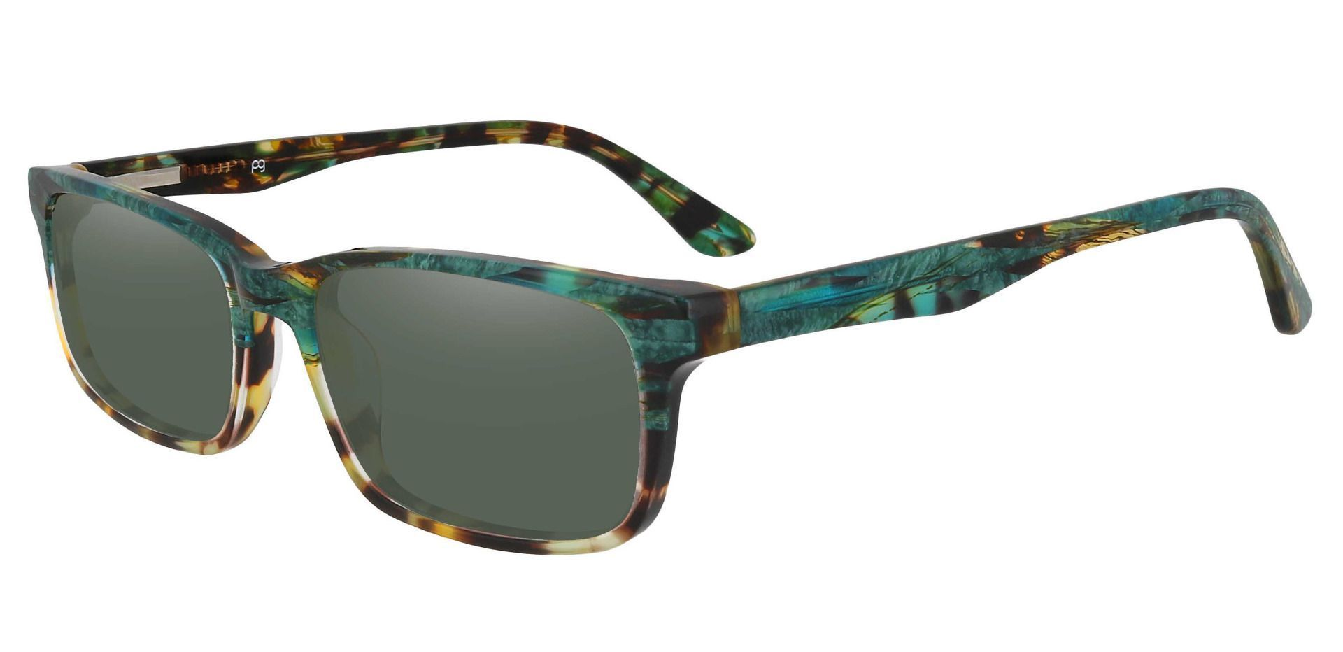 Ennis Rectangle Non-Rx Sunglasses - Floral Frame With Green Lenses