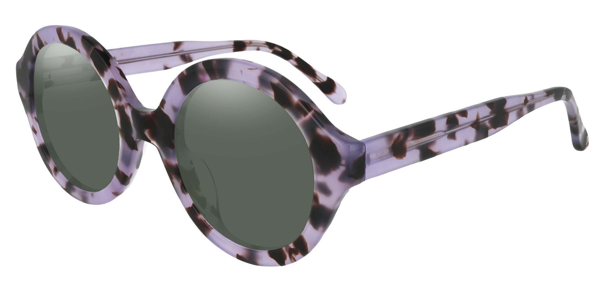 Clara Round Reading Sunglasses - Floral Frame With Green Lenses