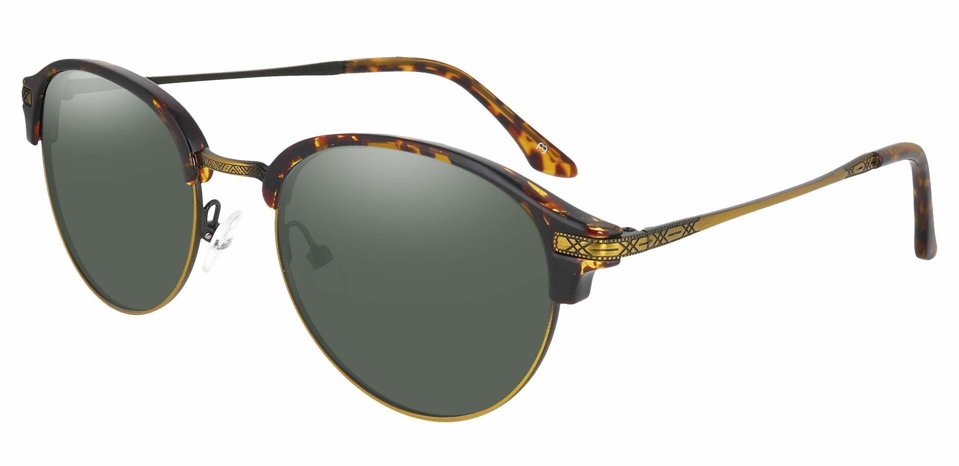 Akron Browline Progressive Sunglasses - Tortoise Frame With Green Lenses