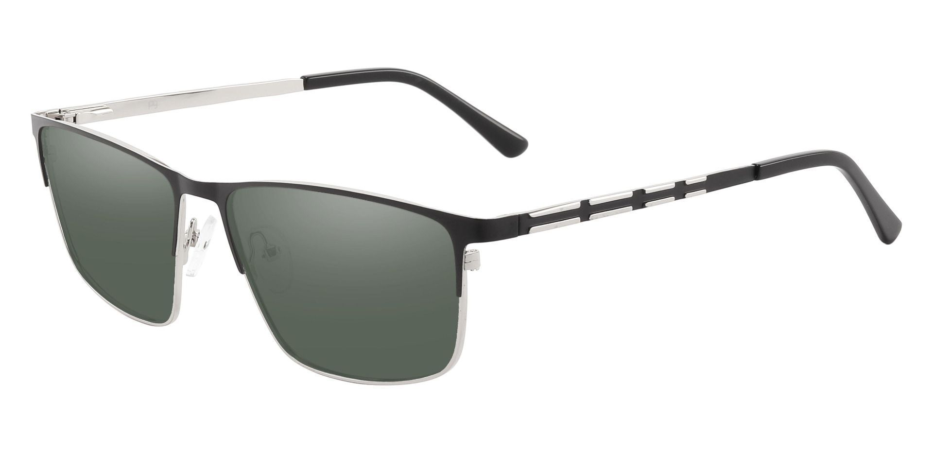 Hamlet Browline Prescription Sunglasses - Black Frame With Green Lenses