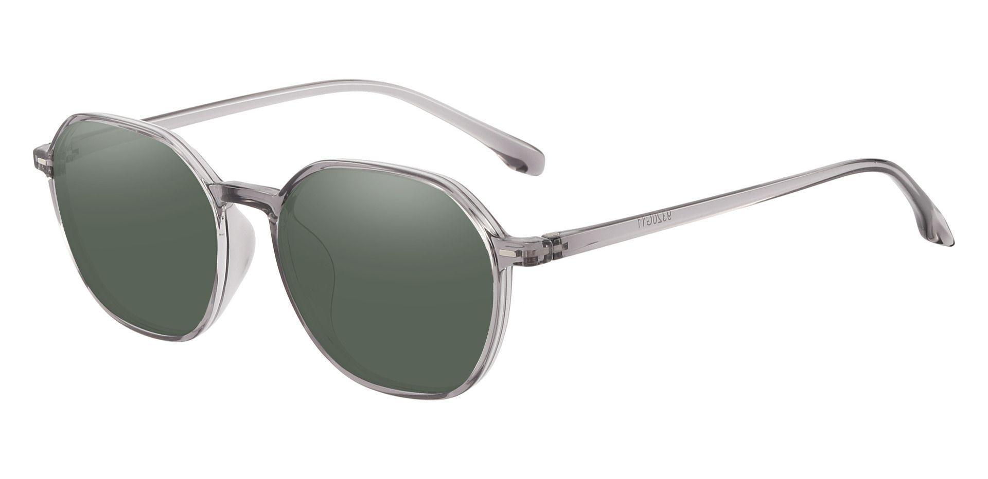 Detroit Geometric Prescription Sunglasses - Gray Frame With Green Lenses
